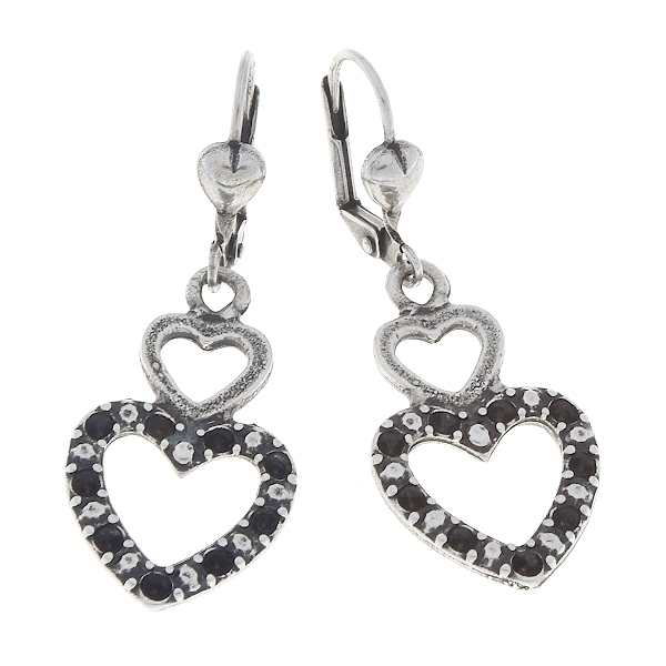 14pp Double hearts Lever back earring bases