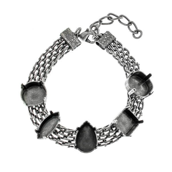 Mixed setting on 15cm flat mesh chain almost finished bracelet base