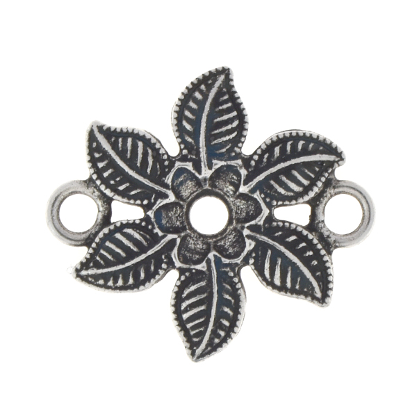 24ss Flower and leaves Jewelry connector with two side loops