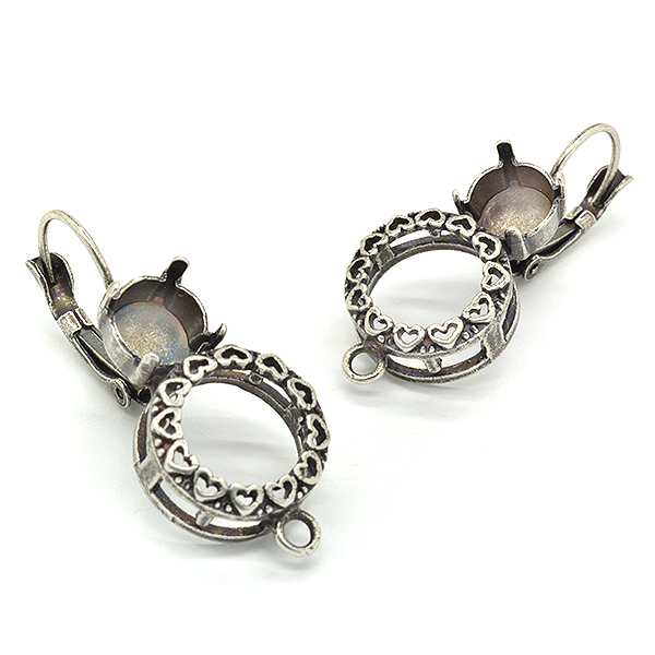 Decorated Rivoli 12mm Setting, 39ss hanging earring bases with one bottom loop