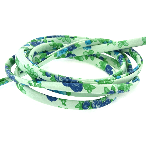 4.5mm Faux Leather Cord with Blue Flowers print - 1 Meter