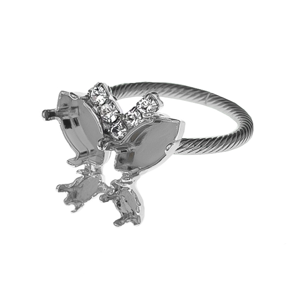 6x3mm / 10x5mm Navette with Rhinestones Adjustable ring base