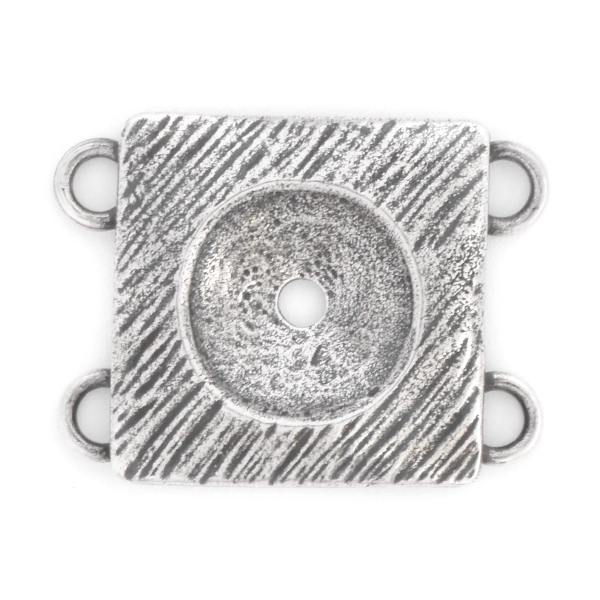 12mm Rivoli metal casting Jewelry connector with 4 loops