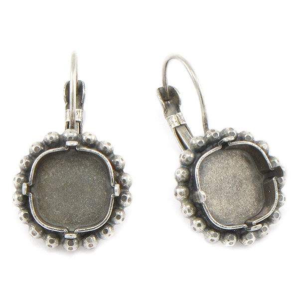 12x12mm Square Lever back Earring base with 2mm ball chain