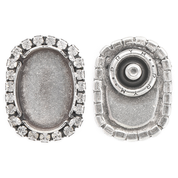 18x13mm Oval empty stone setting snap Clip Button with Rhinestones