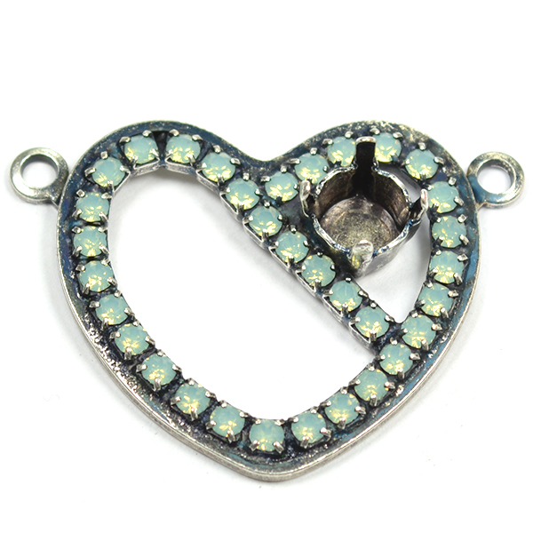 Heart Pendant with 29ss pendant base with 2 top side loops