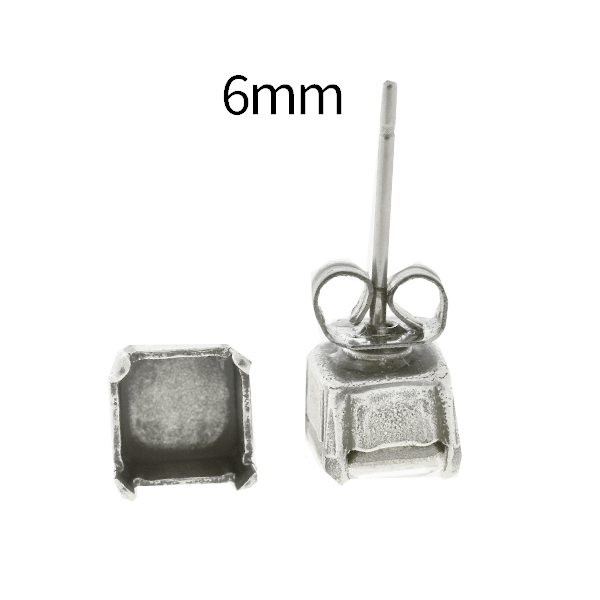 6mm Imperial 4480 Square Stone setting Stud Earring bases