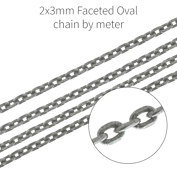 2x3mm faceted oval loops chain - 1meter