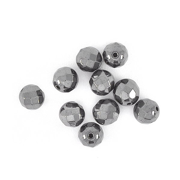 6mm Faceted Round Natural Hematite Beads Metallic color - 10 pcs pack