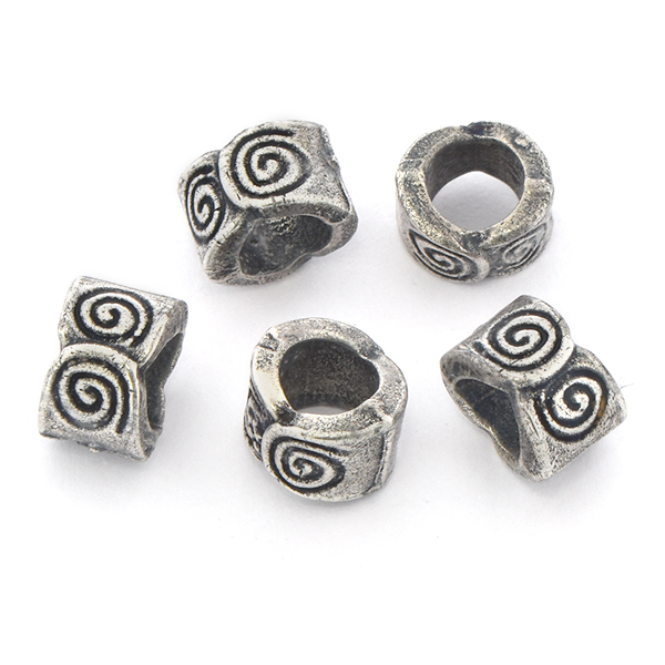 8.5mm Handmade Metal Beads with Spiral pattern - 5pcs pack