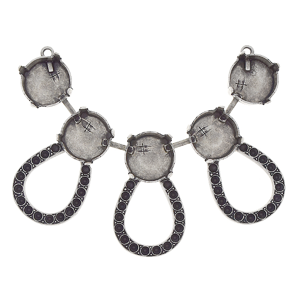 14pp, 12mm Rivoli centerpiece for necklace with hollow drops