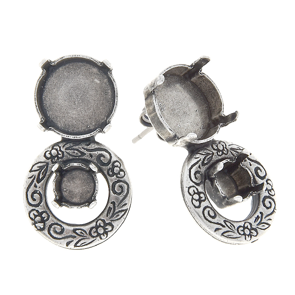 29ss, 12mm Rivoli stud earring base with floral circle