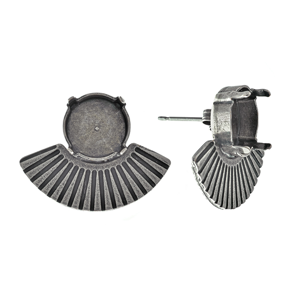 12mm Rivoli settings with metal casting bow elements Egypt style Stud earring bases