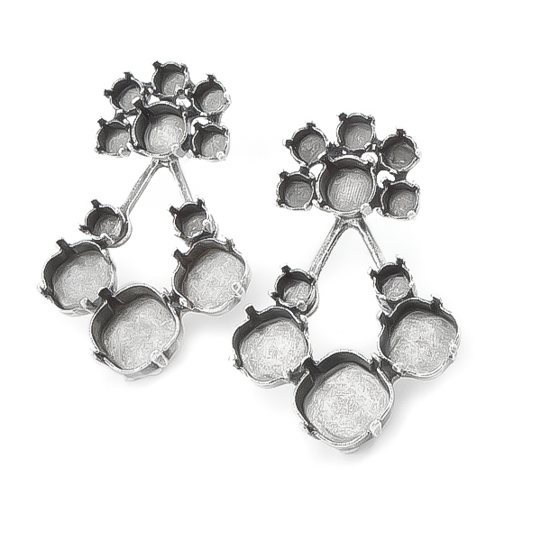 Ear Jackets with mixed sizes stone settings