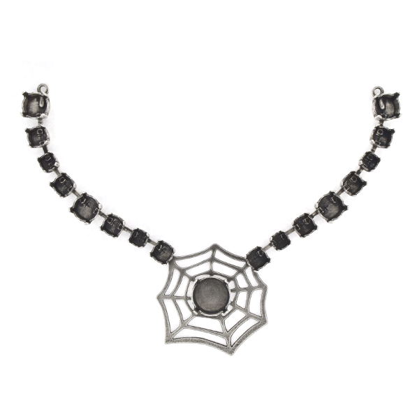 24ss, 29ss, 39ss, 12mm Rivoli Centerpiece for Necklace with Cobweb