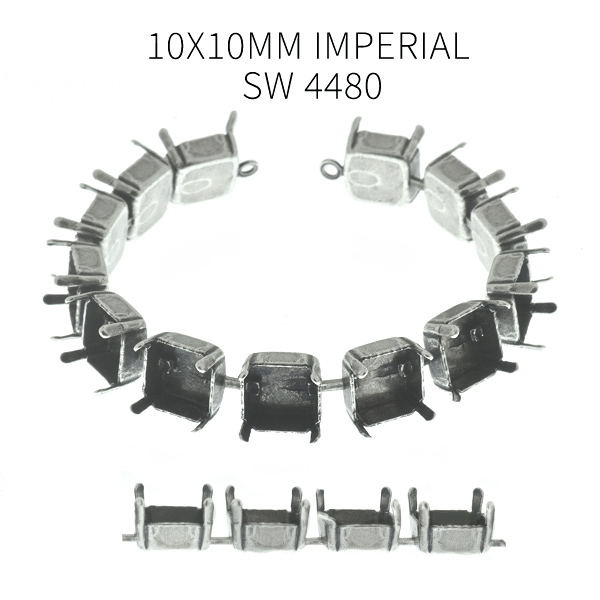 10x10mm Imperial 4480 empty Cup chain (13 settings) Bracelet base with end loops