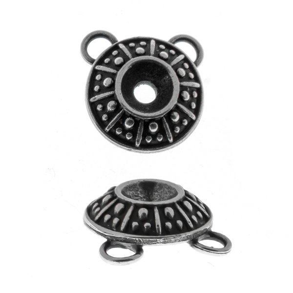 24ss Dotted metal casting Pendant base with two top loops