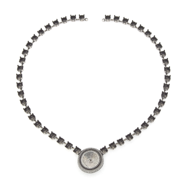 29ss, 14mm Rivoli with lines Necklace base