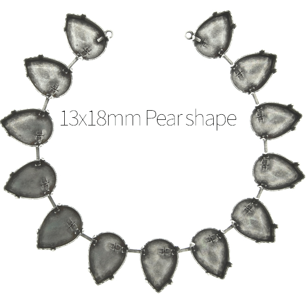 13x18mm Pear shape cup chain Necklace base