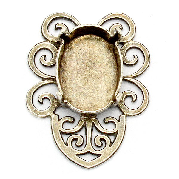 Filigree Pendant base with oval 13X18mm setting