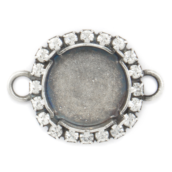 14mm Rivoli Stone setting with rhinestones and two side loops