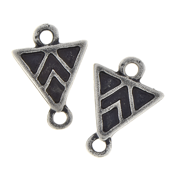 Metal casting ethnic triangle jewelry connector with two loops