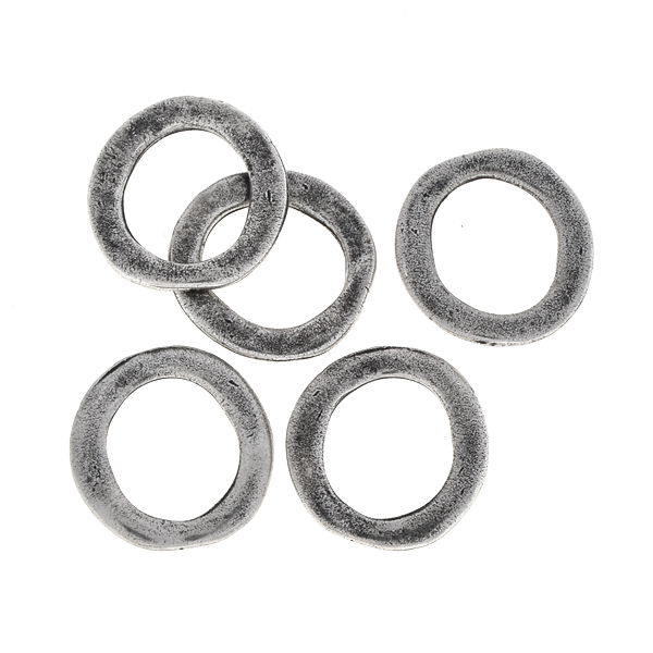 12mm Hammered metal casting hollow circles