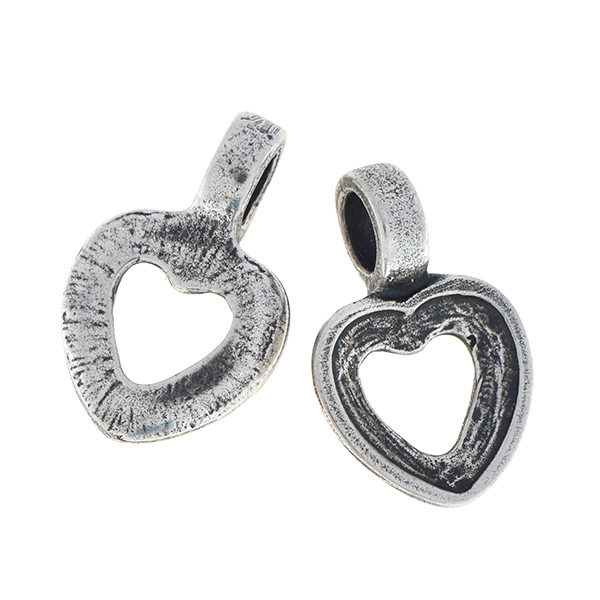 18x11.6mm Hollow heart charm with one top loop