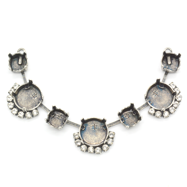 Rivoli 12mm, 39ss 7 settings Center piece for necklace with Crystals and 2 side loops