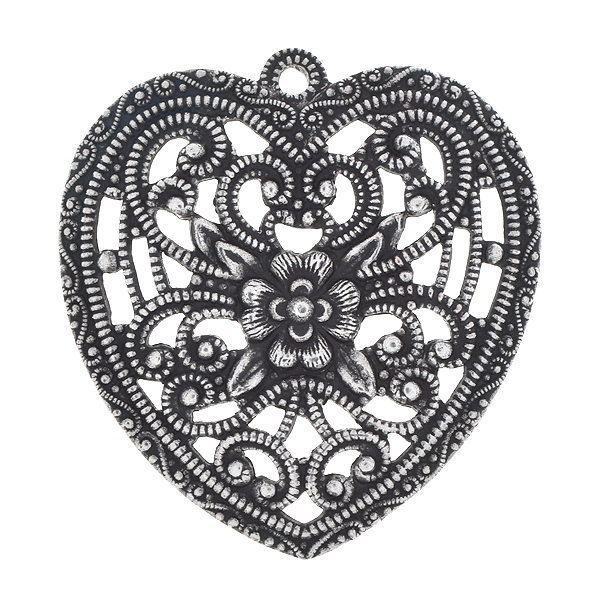 31.4x33.3mm Stamping metal filigree heart with one top loop - 2pcs pack