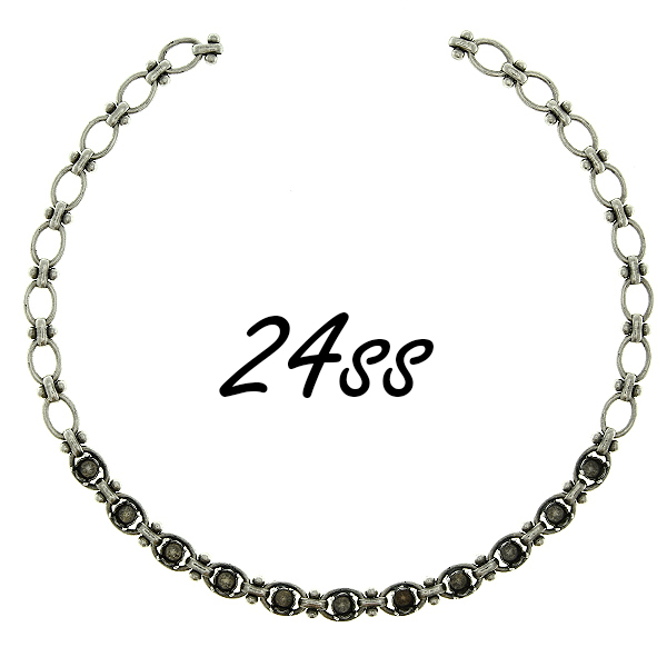 24ss stone settings decorative anchor brass oval link chain Necklace base