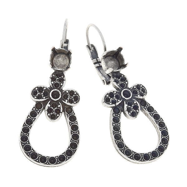 8pp, 14pp, 18pp, 29ss Earring bases with flower and hollow drop