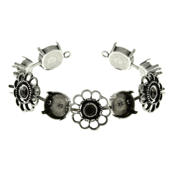 39ss and 12mm Rivoli with Chamomile Flower metal casting elements cup chain Bracelet base