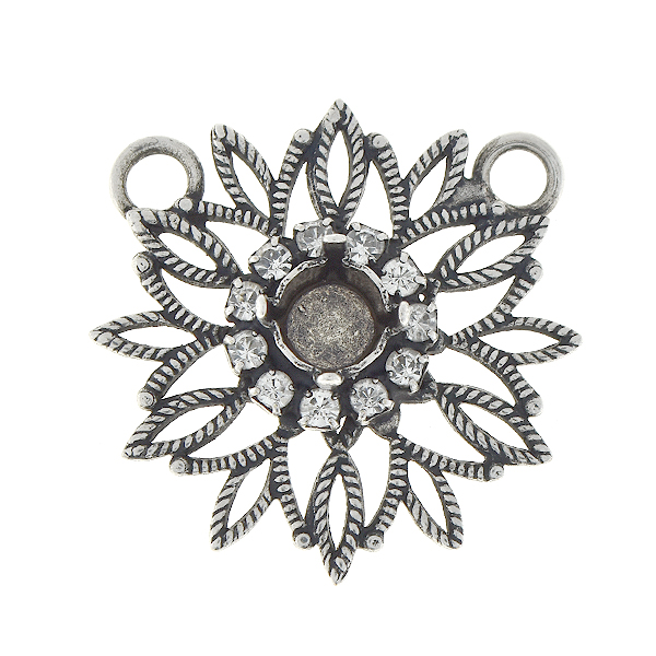 29ss Snowflake with Rhinestones pendant with two loops