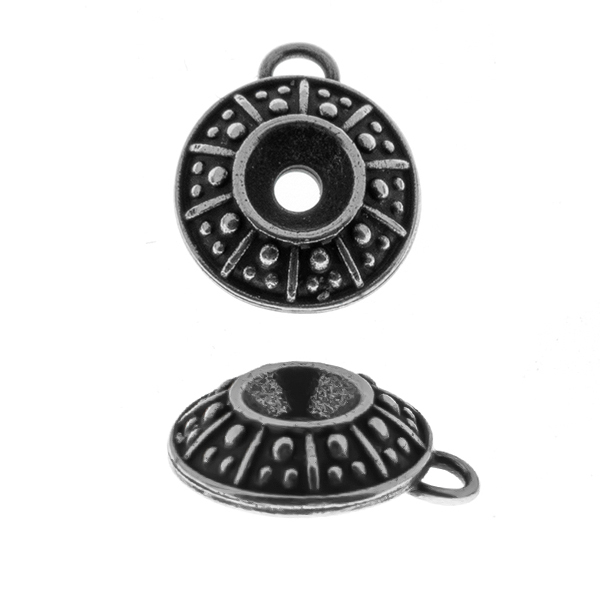 24ss Dotted metal casting Pendant base with top loop