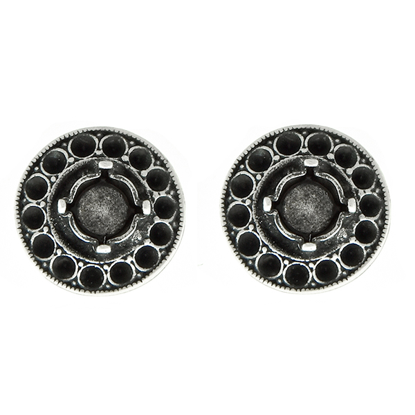 24ss stone setting and 8pp Hollow Circle metal casting Stud Earring bases