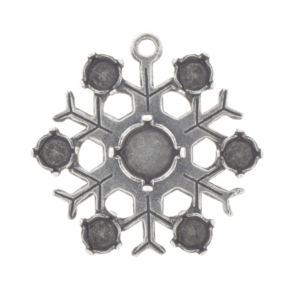 24ss, 39ss Snowflake Pendant base with one top loop