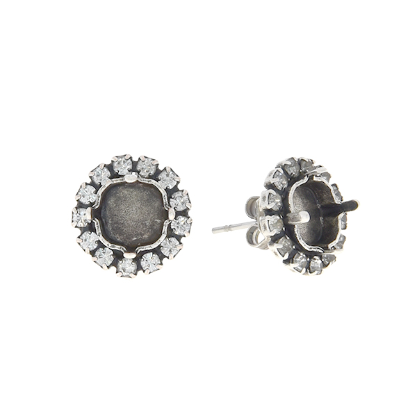 8x8mm Square stud earring base with Rhinestones
