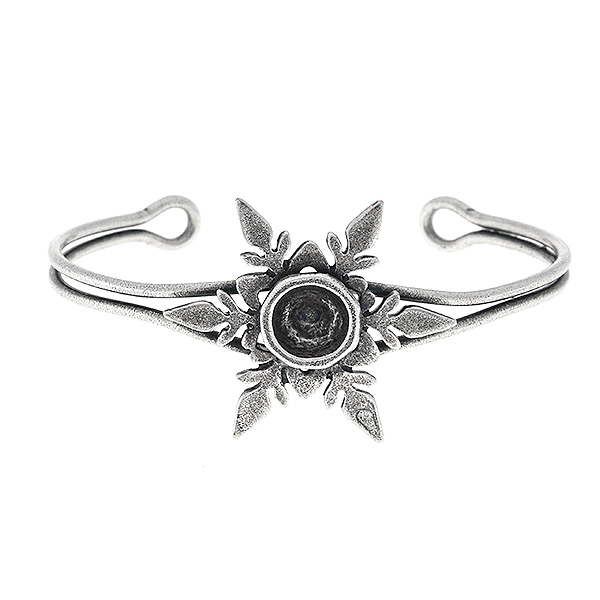 Snowflake and Hollow Circle metal casting element for 39ss stone setting on Bangle Bracelet base