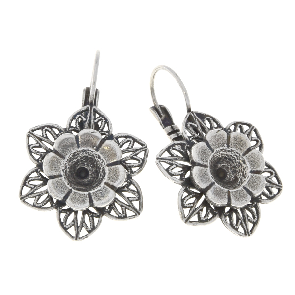 29ss metal flower with filigree petals Lever back earrings bases