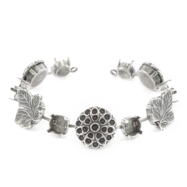 39ss,24ss,14pp,18pp Bracelet base with Leaf and Flower elements-11 settings