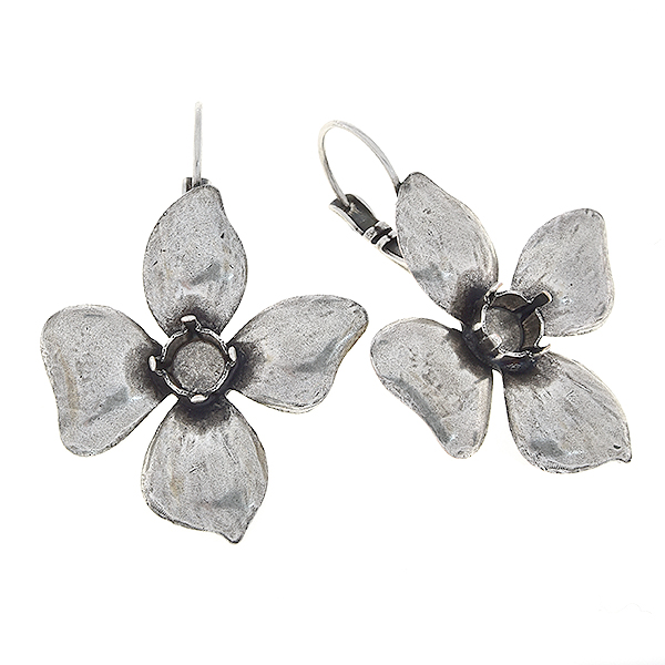 29ss Flower with four petals Lever back earrings bases
