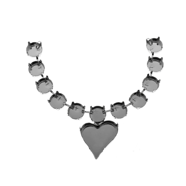 27x25mm Sweet Heart Fancy Pendant with 12mm Rivoli cup chain centerpiece for necklace base