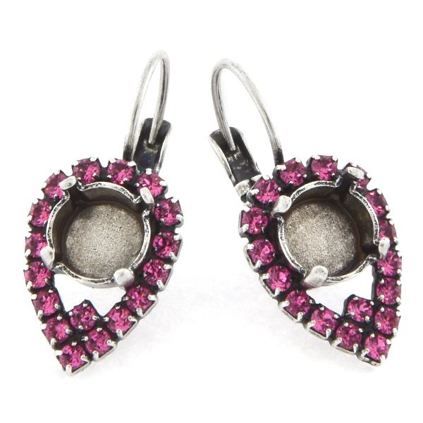 39ss with 14pp Rhinestones Pear shaped Lever back Earring base