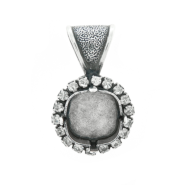 12x12mm Square stone setting with Rhinestoness  Pendant base with bail