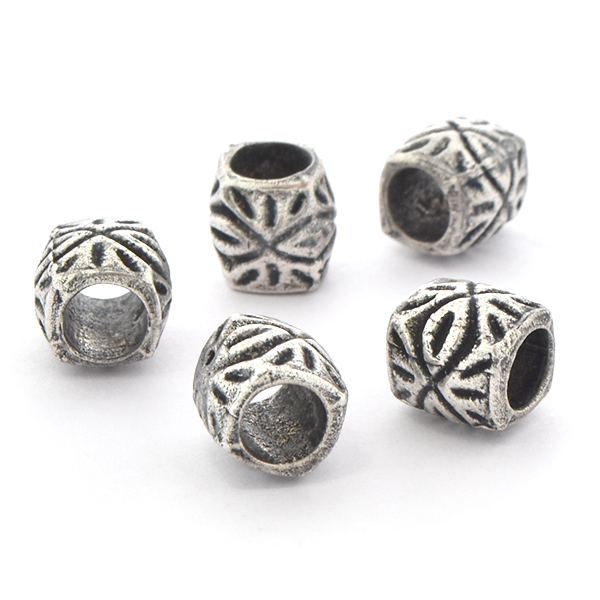 9mm Handmade Metal Beads with Aztec pattern - 5pcs pack