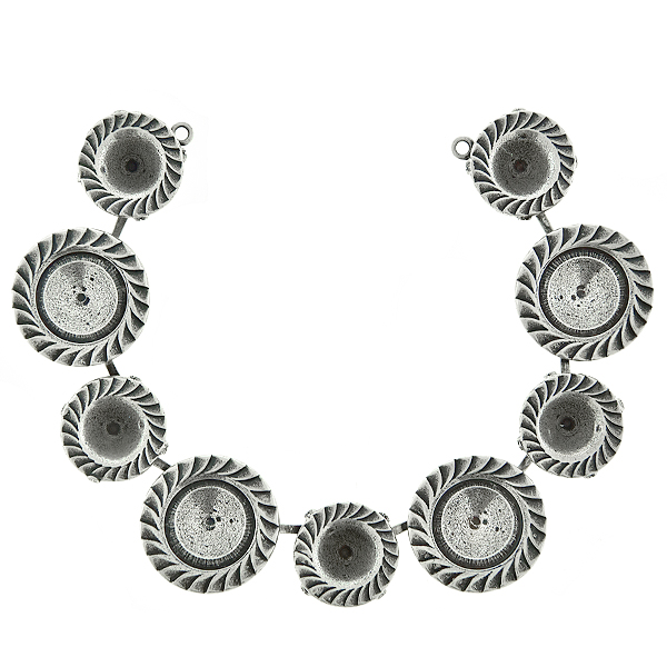 39ss and 12mm Rivoli Jagged ornamental metal casting Centerpiece for Necklace base with two side loops