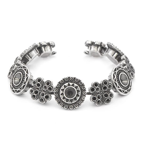 14pp, 24ss, 29ss Clover with Ethnic and Aztec setings Bracelet base