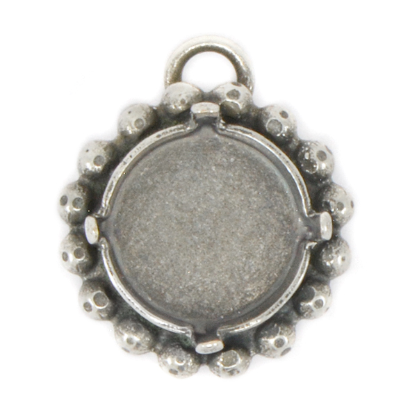 12mm Rivoli Stone Setting with 2mm ball chain around and top loop