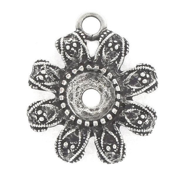 39ss Metal casting Flower Pendant base with top loop